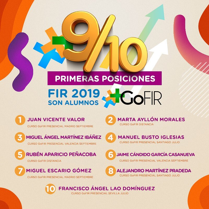 9/10 PRIMERAS POSICIONES SON ALUMNOS GOFIR